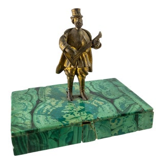 Late 19th Century Miniature Russian Bronze Musician on Malachite Base For Sale