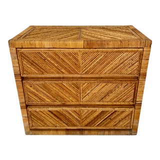 Vintage Pencil Reed Rattan Chest For Sale
