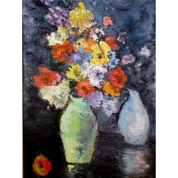 An Impressionist Still Life of Flowers w/ Fruit; Probably American - Image 2 of 5