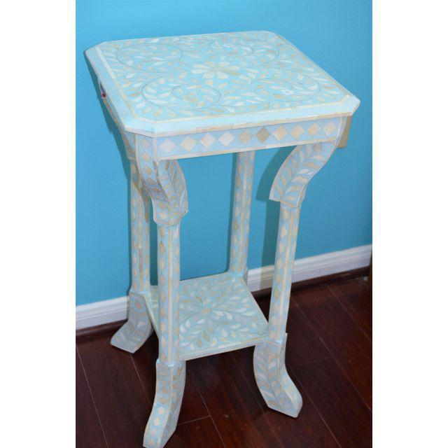 Indian Bone Inlay Side Table - Image 9 of 10