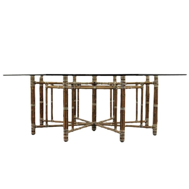 McGuire Bamoo and Laced Rawhide Octagonal Dining Table For Sale