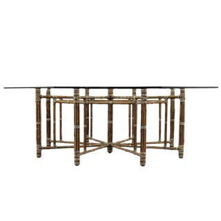 McGuire Octagonal Bamoo and Laced Rawhide Dining Table For Sale