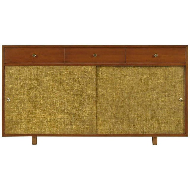 Mid-Century Modern Walnut & Lacquered Linen Front Nine-Drawer Cabinet For Sale - Image 3 of 10