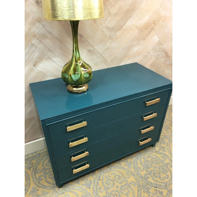 Lacquered Teal Brass Hardware Dresser - Image 6 of 7