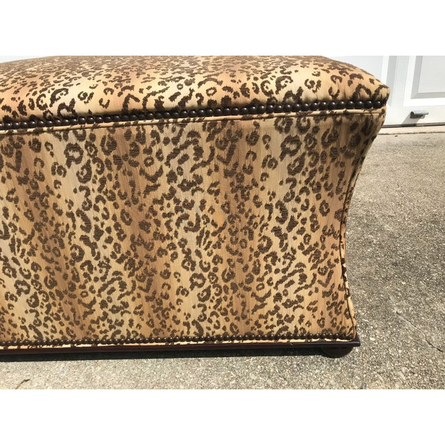 Modern Antique Style Designer Ottoman Leopard Print Upholstery Footstool For Sale - Image 3 of 9