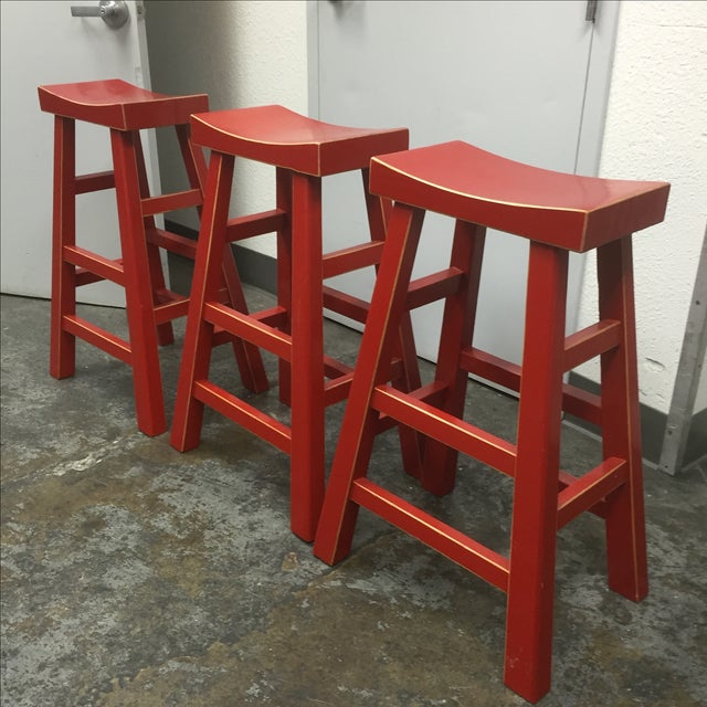 Red Solid Wood Stools - Set of 3 - Image 9 of 10