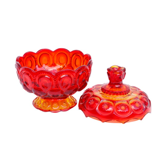 Americana L. E. Smith Amberina Lidded Glass Candy Dish For Sale - Image 3 of 8