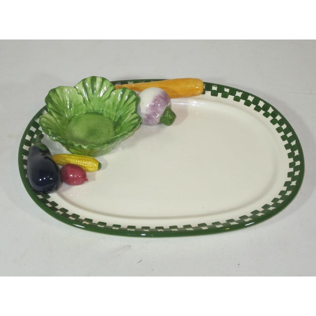 Serving Platter With Applied Vegetables and Bowl For Sale - Image 6 of 6