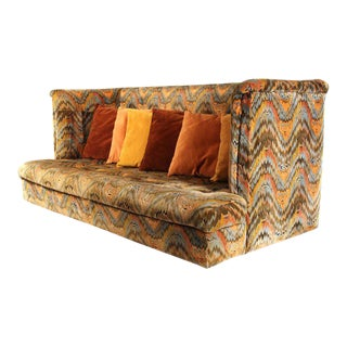 Milo Baughman for Thayer Coggin Shelter Sofa with Treasure Chest Ottomans For Sale