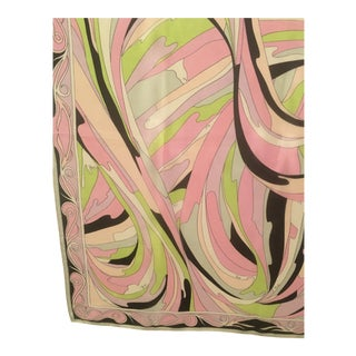 Lovely Vintage Pucci Chiffon Psychedelic Print Scarf For Sale