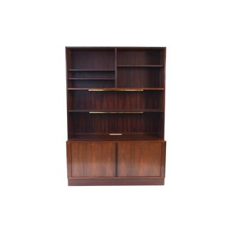 Mid-Century Danish Modern Rosewood Tambour Door Bookcase by Poul Hundevad For Sale