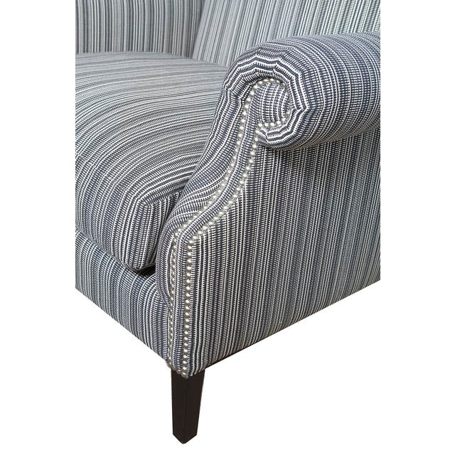 English Traditional Studded Pinstripe Wingback Chairs - a Pair For Sale - Image 3 of 4