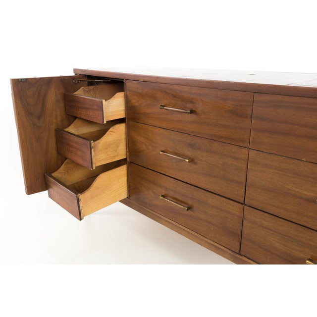 Brown 1960s Mid-Century Modern Kent Coffey Perspecta 12 Drawer Walnut and Rosewood Lowboy Dresser For Sale - Image 8 of 13