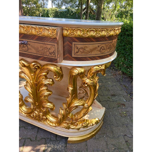 New Italian Rococo/Baroque Style Table in Gold and Brown With Wooden Top For Sale - Image 6 of 13