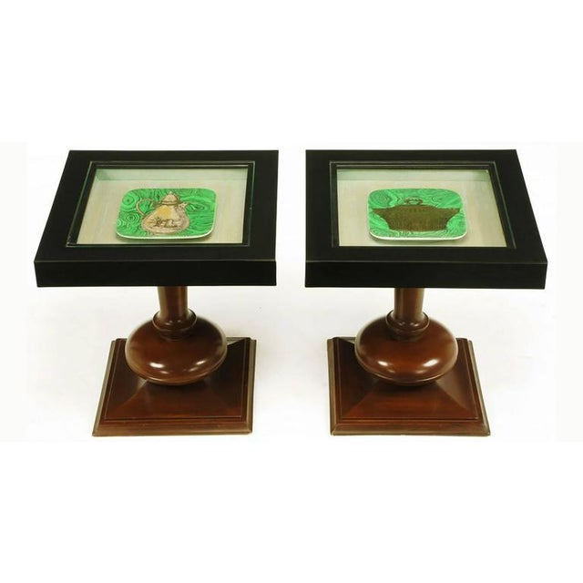 Pair of walnut and Micarta cocktail display tables with Piero Fornasetti malachite and gold square plates. Each plate is...