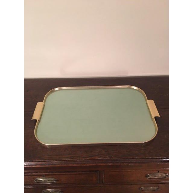Mid-Century Modern 1970s Mid Century Kaymet Green Tone and Gold Bar Tray For Sale - Image 3 of 8