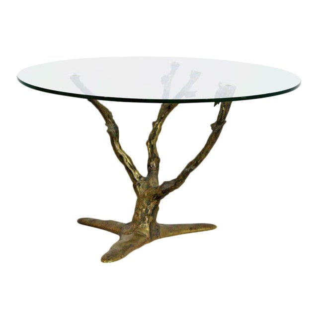 Modern Art Deco Cast Bronze Tree Limb Side End Table For Sale