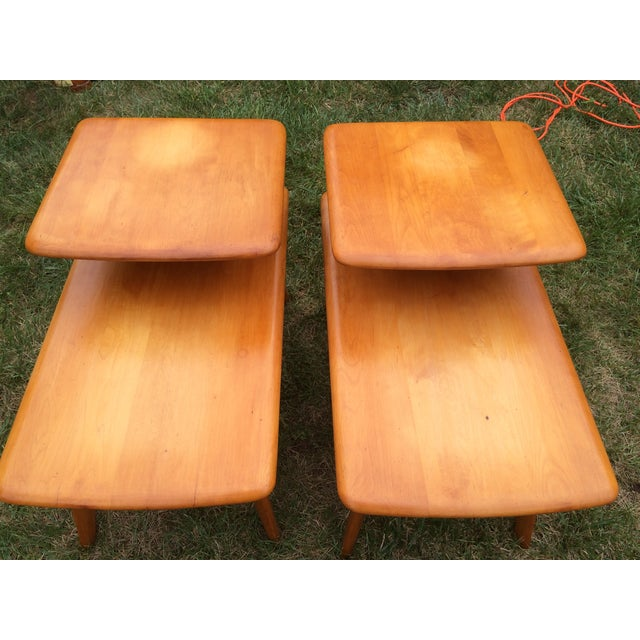 2 Heywood Wakefield Champagne Two-Tier Lamp Tables - Image 4 of 8