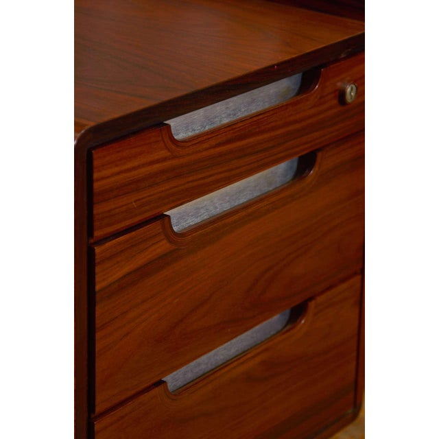 1960s Modern Custom Rosewood Executive Desk Suite For Sale - Image 5 of 7