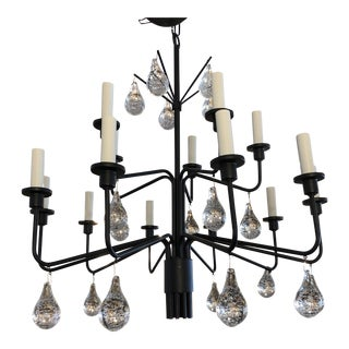 Holm Sorenson Iron & Glass Drop Chandelier For Sale