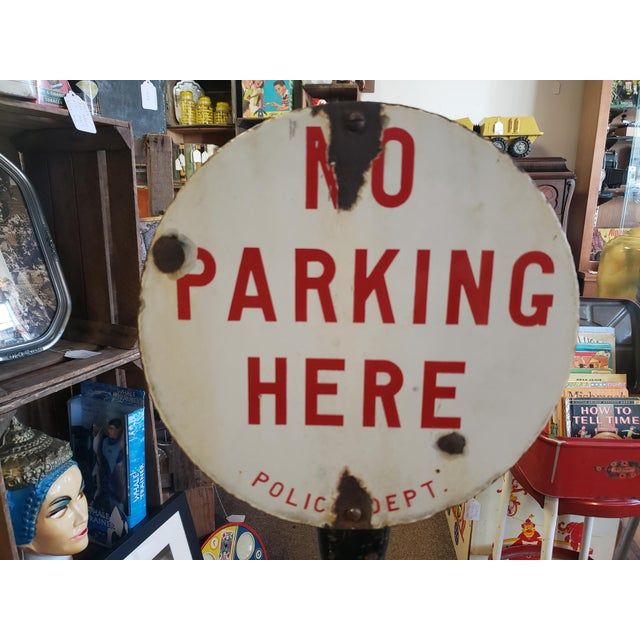 Industrial Circa 1920 Porcelain No Parking Sign by Burdick Enamel Sign Co For Sale - Image 3 of 10