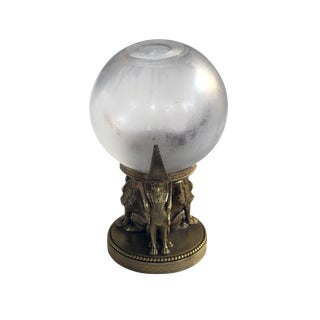 A Well-Executed Swedish Crystal Orb Vase on a Bronze Egyptian-Inspired Stand by Orrefors For Sale