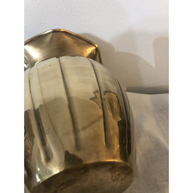 Mid Century Fluted Brass Vase With Rope Trim For Sale - Image 4 of 5
