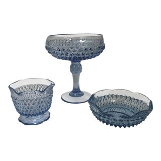 1970s Vintage 3 Piece Anchor Hocking Blue Diamond Point Glass Bowl For Sale