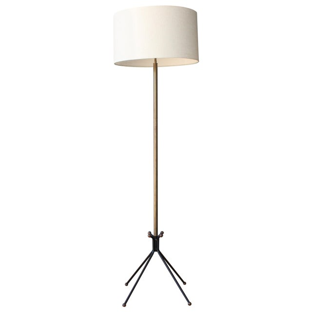 Brass Floor Lamp on Metal Tripod Legs, Italy, 1960s For Sale - Image 9 of 9