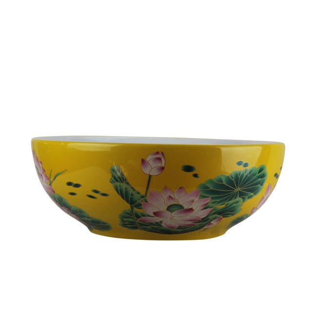 2010s Pasargad DC Modern Yellow / Green Motif Sink Bowl For Sale - Image 5 of 6