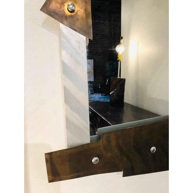 Copper Modern Metal Wall Mirror For Sale - Image 7 of 8