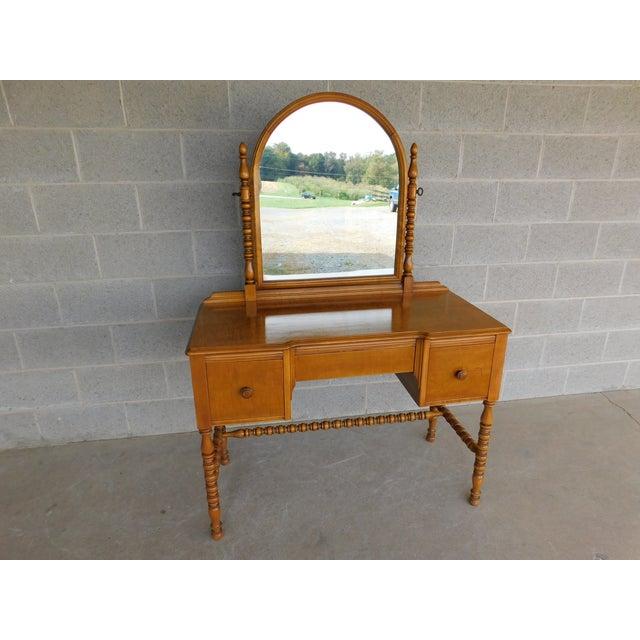 Wood Vintage Tiger Maple Vanity & Mirror Set For Sale - Image 7 of 13