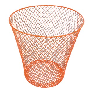 Orange Wire Metal Waste Receptacle Trash Can
