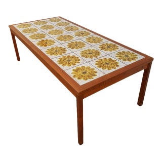 Danish Modern Teak and Tile Coffee Table For Sale