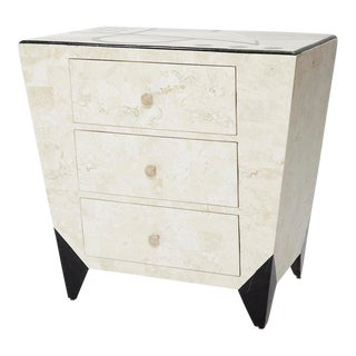 "1990s Postmodern Tessellated Stone ""Et Cetera"" 3-Drawer Nightstand For Sale"