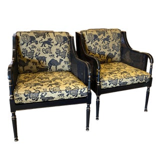 Vintage Empire Ebony and Yellow Caned Chairs - a Pair For Sale