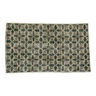 "Vintage Turkish Zeki Muren Distressed Dark Green Sivas Area Rug - 3'10"" X 6'6"""