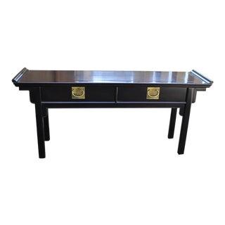 Century Furniture Chin Hua Chinoiserie Pagoda Console Table Original Ebonized Finish For Sale