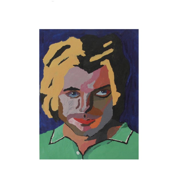Vintage Pop Art Original Painting of a Man - Image 1 of 3