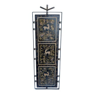 Late 20th Century Wrought Iron Framed Handpainted Gilt Hanging Panel For Sale