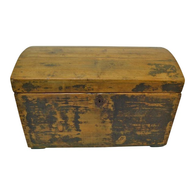 Pine Painted Dome-Top Trunk For Sale