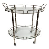 Image of 1970s Hollywood Regency Oval Faux Bamboo Chrome Bar Cart For Sale