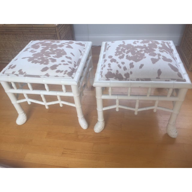 Chinoiserie Chic Hollywood Regency Stools - Pair - Image 3 of 11