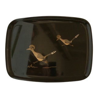 Mid Century Modern Couroc of Monterey Roadrunner Tray For Sale