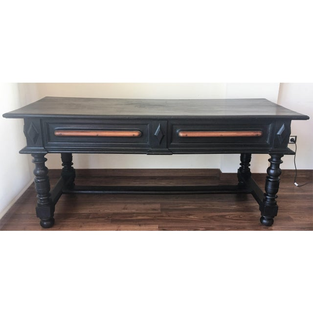 Baroque 18th Century Spanish Renaissance Walnut Refectory Table. Desk. Hall Table For Sale - Image 3 of 10