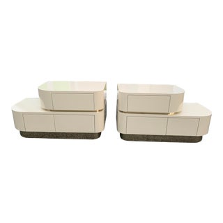Mid-Century Modern Pierre Cardin Style Waterfall and Brass Nightstands-a Pair For Sale