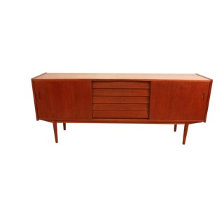 "Swedish Modern Danish Teak Sideboard Credenza Nils Johsson Model ""Trio"" For Sale"