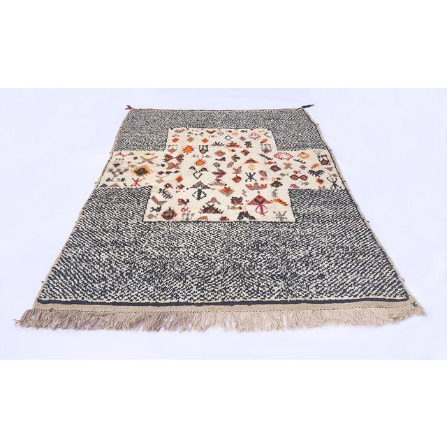 """White Vintage Tribal Berber Wool Checkerboard Rug-5'2"""" X 8'8"""" For Sale - Image 8 of 10"""