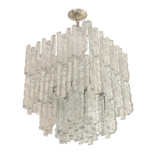 Square Two Tier Chandelier Composed of Ice Inspired Glass Elements by Kalmar For Sale