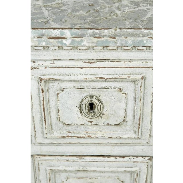 Bronze French Louis XVI Period Painted Faux Marble Top Commode Chest of Drawers For Sale - Image 7 of 10